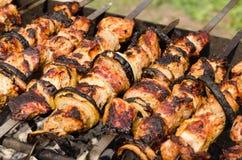 Fondo de kebabs asados a la parrilla curruscantes en un Bbq Foto de archivo libre de regalías