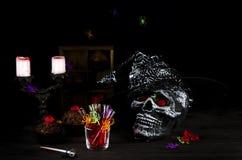 Fondo de la aún-vida de Halloween Imagenes de archivo