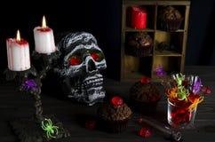 Fondo de la aún-vida de Halloween Fotografía de archivo libre de regalías
