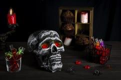 Fondo de la aún-vida de Halloween Fotos de archivo