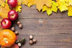 Fondo de la acción de gracias del otoño con las frutas y verduras estacionales Fotos de archivo libres de regalías
