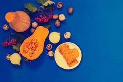 Fondo de la acción de gracias - calabazas, rebanadas fritas de la calabaza en un p foto de archivo