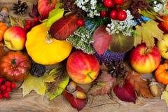 Fondo de la acción de gracias con la calabaza amarilla, manzanas, bellotas, colo Imagen de archivo libre de regalías