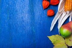 Fondo de la acción de gracias con las frutas y las calabazas del otoño en una tabla de madera rústica azul Opinión superior de la Imagen de archivo