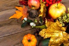 Fondo de la acción de gracias con las hojas de arce de oro y anaranjadas Foto de archivo libre de regalías