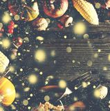 Fondo de la acción de gracias con nieve del oro que cae Calabazas y diversas frutas del otoño Capítulo con los ingredientes estac Fotos de archivo