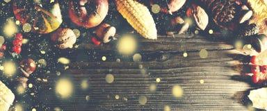 Fondo de la acción de gracias con nieve del oro que cae Calabazas y diversas frutas del otoño Capítulo con los ingredientes estac Imágenes de archivo libres de regalías