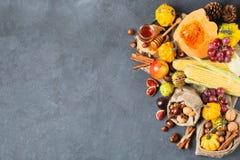 Fondo de la acción de gracias de la cosecha del otoño de la caída con maíz de la castaña de la manzana de la calabaza Imágenes de archivo libres de regalías