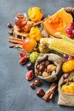 Fondo de la acción de gracias de la cosecha del otoño de la caída con maíz de la castaña de la manzana de la calabaza Imagenes de archivo