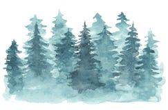 Fondo de la acuarela con el bosque conífero azul libre illustration