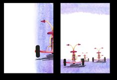 Fondo de la acuarela con la imagen de una bicicleta del ` s del niño, A4 formato, dibujo de la mano, plantilla de la forma imagen de archivo libre de regalías
