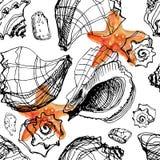 Fondo de la acuarela con las cáscaras del mar y las estrellas de mar en el fondo blanco ilustración del vector