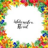 Fondo de la acuarela con las plantas tropicales y las flores fotografía de archivo libre de regalías