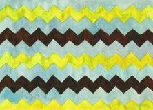 Fondo de la acuarela con las rayas del zigzag Foto de archivo