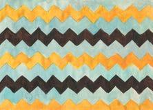 Fondo de la acuarela con las rayas del zigzag Imagen de archivo libre de regalías