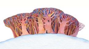 Fondo de la acuarela con los árboles estilizados Foto de archivo libre de regalías