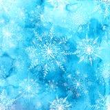 Fondo de la acuarela con los copos de nieve Foto de archivo libre de regalías