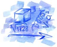 Fondo de la acuarela con símbolos matemáticos Fotos de archivo libres de regalías