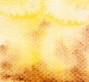 Fondo de la acuarela del amarillo anaranjado de Brown Imagen de archivo libre de regalías