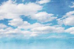 Fondo de la acuarela del cielo y de las nubes Foto de archivo libre de regalías
