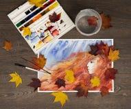 Fondo de la acuarela del otoño Princesa de la caída ilustraciones Imágenes de archivo libres de regalías