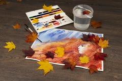 Fondo de la acuarela del otoño Princesa de la caída ilustraciones Fotografía de archivo