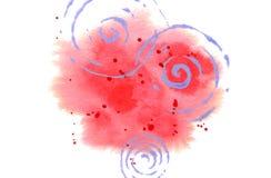 Fondo de la acuarela para la tarjeta, cartel, impresi?n El punto rojo abstracto con salpica y tuerce en espiral aislado en blanco stock de ilustración
