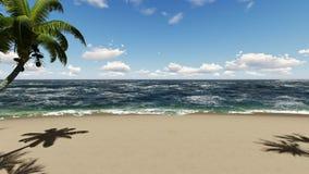 Fondo de la animación del movimiento de la playa y de la palmera stock de ilustración