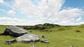 Fondo de la animación de los gráficos del movimiento de la colina verde almacen de metraje de vídeo