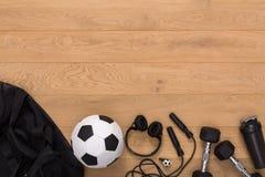 Fondo de la aptitud, equipo de deporte, espacio de la copia Fotografía de archivo libre de regalías