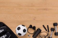 Fondo de la aptitud, equipo de deporte, espacio de la copia Imagen de archivo