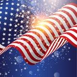 Fondo de la bandera americana con el fuego artificial Imagen de archivo