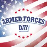 Fondo de la bandera americana del día de fuerzas armadas de arma Foto de archivo libre de regalías
