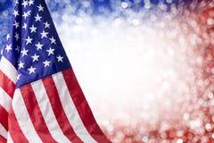 Fondo de la bandera americana y del bokeh Imágenes de archivo libres de regalías
