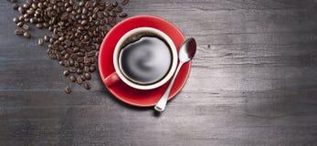 Fondo de la bandera de la taza de café foto de archivo