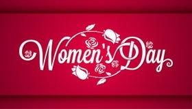 Fondo de la bandera de las letras del vintage del día de las mujeres Fotografía de archivo libre de regalías
