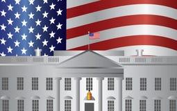 Fondo de la bandera de los E.E.U.U. de la Casa Blanca del Washington DC ilustración del vector