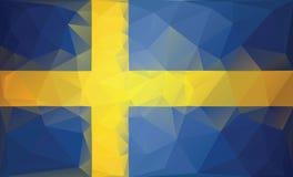 Fondo de la bandera de Suecia Estilo polivinílico bajo Foto de archivo libre de regalías