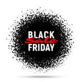 Fondo de la bandera del círculo de la venta de Black Friday, esfera abstracta de puntos al azar negros Imagen de archivo
