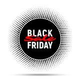 Fondo de la bandera del círculo de la venta de Black Friday, etiqueta redonda de semitono para hacer publicidad Foto de archivo