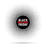 Fondo de la bandera del círculo de la venta de Black Friday, etiqueta redonda de semitono para hacer publicidad Imagen de archivo libre de regalías