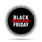 Fondo de la bandera del círculo de la venta de Black Friday, etiqueta redonda de semitono para hacer publicidad Fotografía de archivo libre de regalías