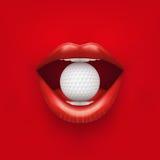 Fondo de la boca abierta de la mujer con la pelota de golf adentro Imagen de archivo
