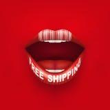 Fondo de la boca de la mujer con la etiqueta y los labios libre illustration