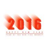 fondo de la bola ardiente, números del texto de la Feliz Año Nuevo 2016 de mover los círculos ardientes, tarjeta de felicitación  Foto de archivo