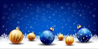 Fondo de la bola de la Navidad de la Feliz Año Nuevo que nieva, caja de la entrada de texto, fondo azul ilustración del vector