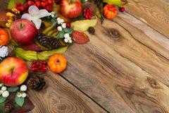Fondo de la caída con las manzanas, el snowberry y las flores blancas, copia s Fotografía de archivo