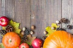 Fondo de la caída del otoño de la acción de gracias con la calabaza, las hojas, las manzanas, los conos del pino y las nueces Imágenes de archivo libres de regalías