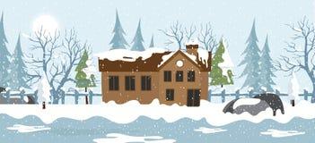 Fondo de la cabaña Nevado ilustración del vector