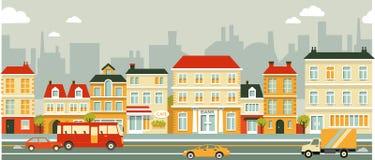 Fondo de la calle del panorama de la ciudad en estilo plano Imágenes de archivo libres de regalías